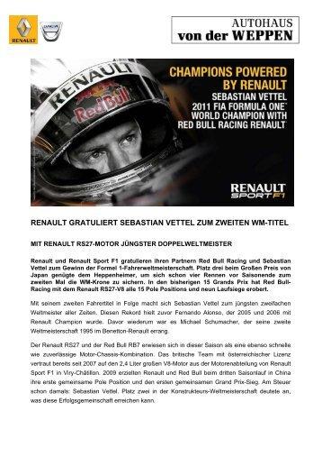 renault gratuliert sebastian vettel zum zweiten wm-titel