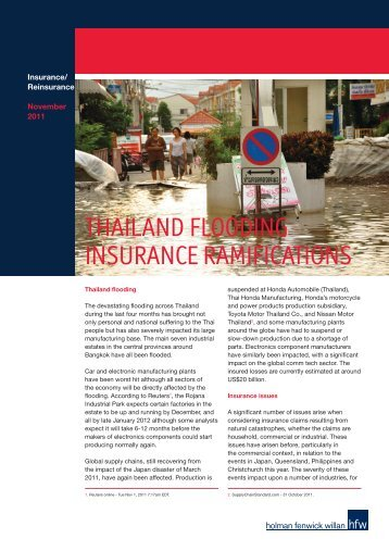 THAILAND FLOODING INSURANCE RAMIFICATIONS