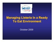 Managing Listeria in the Ready To Eat Environment