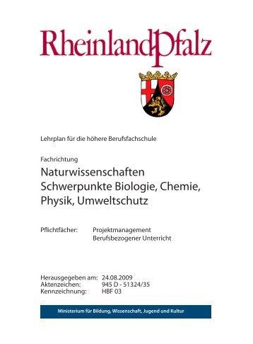 Naturwissenschaften Schwerpunkte Biologie, Chemie, Physik ...