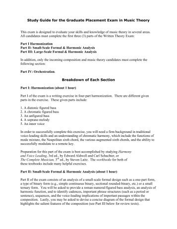 Study Guide for the Graduate Placement Exam in Music Theory This ...