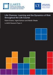 Life chances, learning and the dynamics of risk throughout ... - llakes