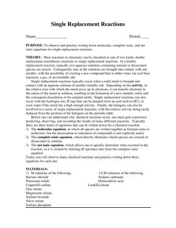 Collection of Single Replacement Worksheet - Sharebrowse