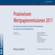 Praxiswissen Wertpapieremissionen 2011 - WM Seminare