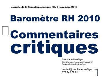 Baromètre RH 2010 - Stéphane Haefliger Sociologue