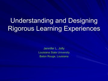 Understanding and Designing Rigorous Learning ... - AAEGT