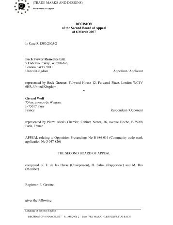 DECISION of the Second Board of Appeal of 6 M arch 2
