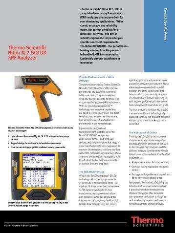 Thermo Scientific Niton XL2 GOLDD XRF Analyzer - Us-tech.co.za