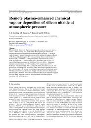 Remote plasma-enhanced chemical vapour deposition of silicon ...