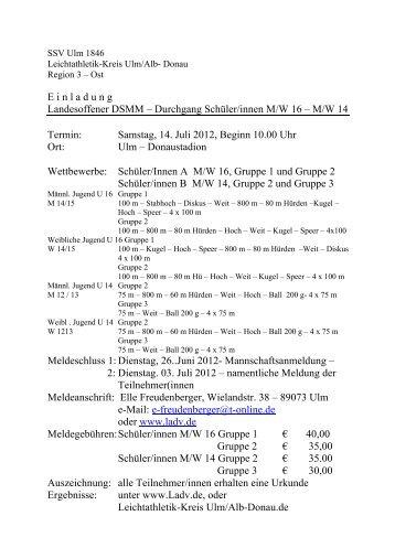 E inladung Landesoffener DSMM – Durchgang Schüler/innen M/W 16