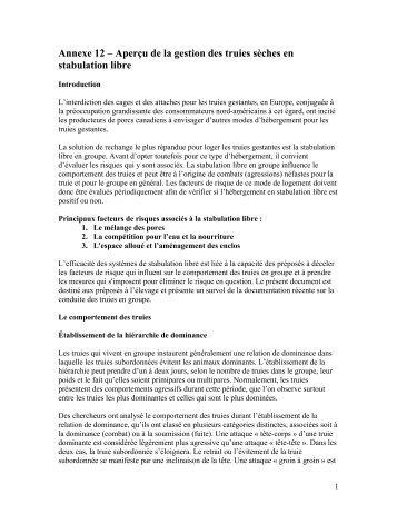 Annexe 12 – Aperçu de la gestion des truies sèches en ... - CQA
