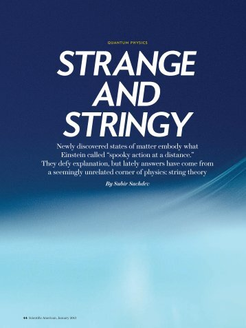 Strange and Stringy - Harvard University