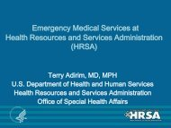 Emergency Medical Services at Health Resources ... - NHTSA EMS