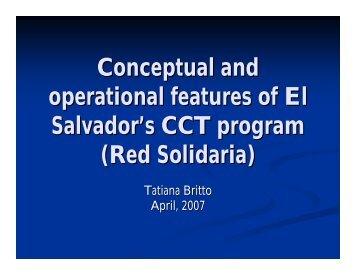 Conceptual and operational features of El Salvador's CCT program ...