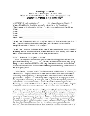 Independent Consulting Agreement Independent Consultant Agreement
