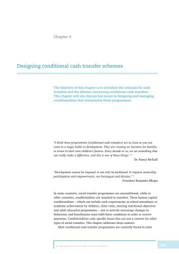 Designing conditional cash transfer schemes - Economic Policy ...