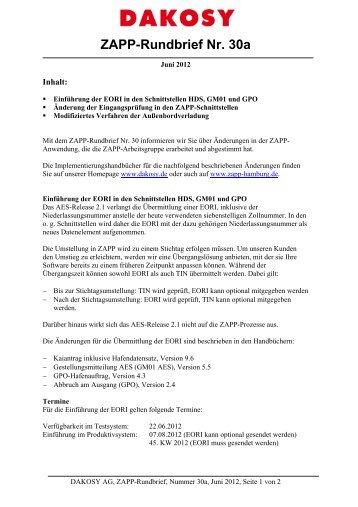 ZAPP-Rundbrief Nr. 30a - DAKOSY Datenkommunikationssystem AG