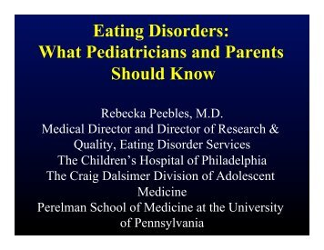 Eating Disorders: What Pediatricians and ... - Maudsley Parents