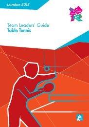 London 2012 Team Leaders' Guide Table Tennis