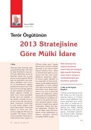 Terör örgütünün 2013 Stratejisine Göre Mülki İdare Kasım ESEN
