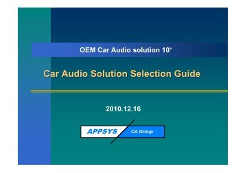 Car Audio Solution Selection Guide
