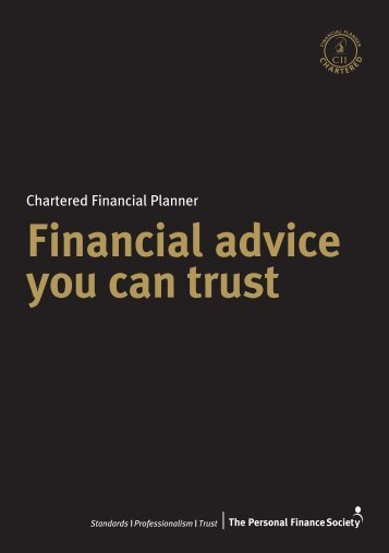 Chartered Financial Planners - The Personal Finance Society