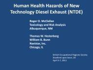 Human Health Hazards of New Technology Diesel Exhaust ... - BOHS
