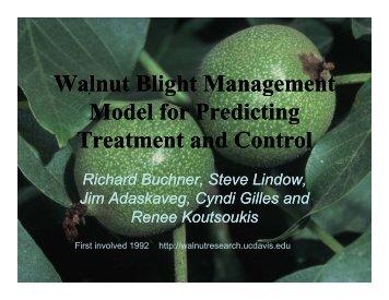 Walnut Blight Management g g Model for Predicting g g Model for ...