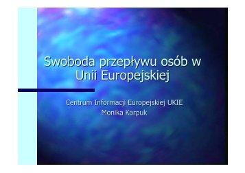 Swoboda przepływu osób w Unii Europejskiej - Centrum Informacji ...