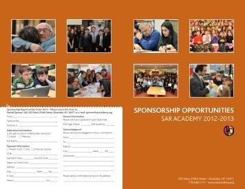 SPONSORSHIP OPPORTUNITIES - SAR Academy