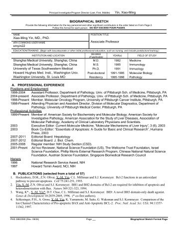 Biographical Sketch Format Page - PSTP - University of Pittsburgh