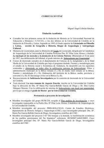 CURRICULUM VITAE Miguel Ángel Cebrián Sánchez Titulación ...