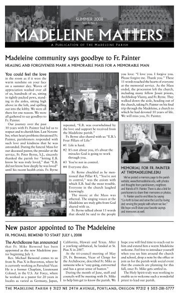 New pastor appointed to The madeleine madeleine community says ...