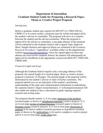 Creative Project/Thesis Proposal Prospectus