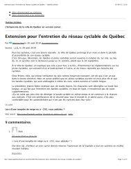 Extension pour l'entretien du réseau cyclable de Québec - Route Verte