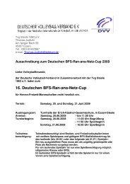 Ausschreibung RanansNetz 2009 - Deutscher Volleyball-Verband