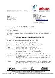 13. Deutschen BFS-Ran-ans-Netz-Cup - Deutscher Volleyball ...