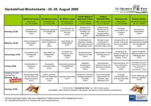 Wochenkarte 25-30 08 09