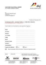 Anmeldung Juniorteamtreffen - Deutscher Volleyball-Verband
