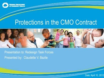 Provider Protections in the CMO Contracts Presentation - Advocacy