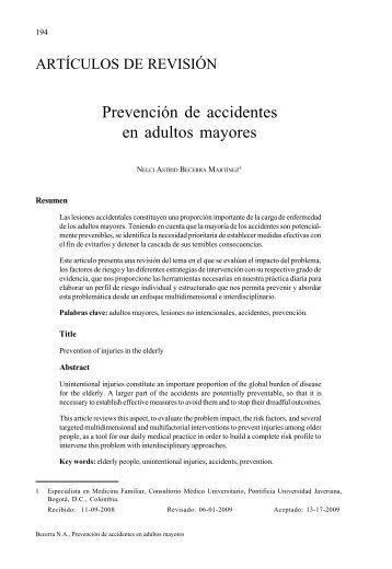 Prevención de accidentes en adultos mayores - Pontificia ...