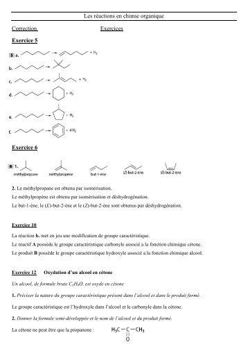 Les réactions en chimie organique Correction Exercices ... - Webnode