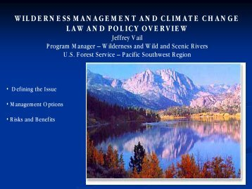 wilderness management and climate change law and policy overview