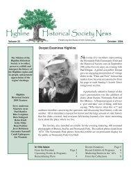Fall 2004 Newsletter - Highline Historical Society