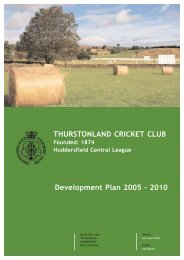 TCC Development Plan - Thurstonland Cricket Club