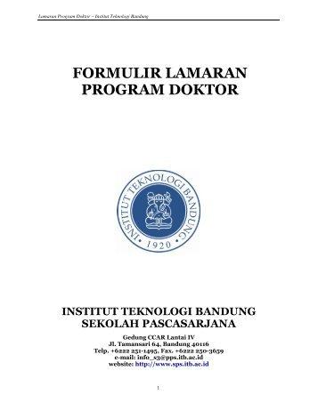 FORMULIR LAMARAN PROGRAM DOKTOR - SBM ITB