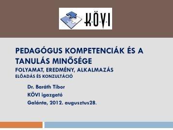 Dr. Baráth Tibor: Pedagógus kompetenciák és a tanulás ... - szmpsz