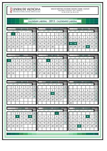 calendari laboral - 2013 - calendario laboral - STM Intersindical ...
