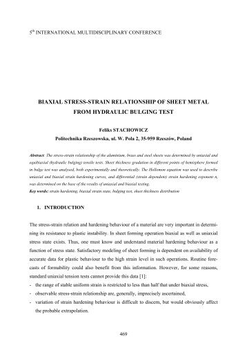 determination of biaxial stress-strain relationship ... - Nordtech.ubm.ro