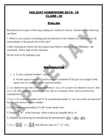 HOLIDAY HOMEWORK CLASS – IX English ... - Apeejay School